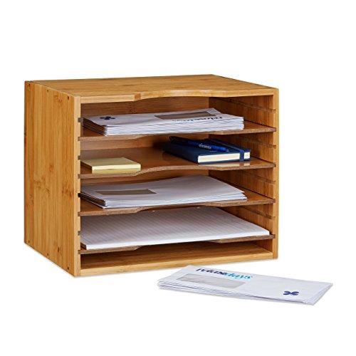 Relaxdays Briefablage aus Bambus HBT: ca. 26 x 33 x 24,5 cm Ablagesystem für den Schreibtisch Dokumentenablage mit 4 variablen Einlegeböden Papierablage aus Holz für Briefe und Unterlagen, natur