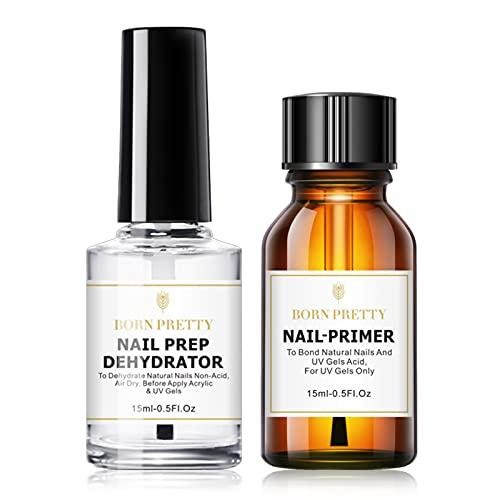 BORN PRETTY deshidratador de uñas Primer Uñas acrílica sin ácido Pro Bond Nail Prep Prebase de unión deshidratada natural para polvos acrílicos y esmalte de uñas en gel 15ml / 0.50fl.oz