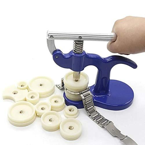 Kit de herramientas múltiples para reparación de prensatelas de relojero con 12 troqueles, caja de reloj de prensa para reloj y caja trasera, regalos para hombres