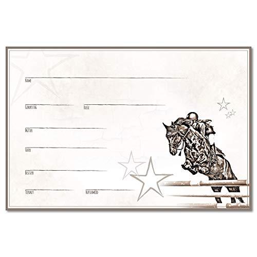 ZAUBERBILD Boxenschild Stallschild Stalltafel Namensschild Pferd 'Warmblut, Springen, Hannoveraner, Holsteiner etc.' 20x30cm Alu