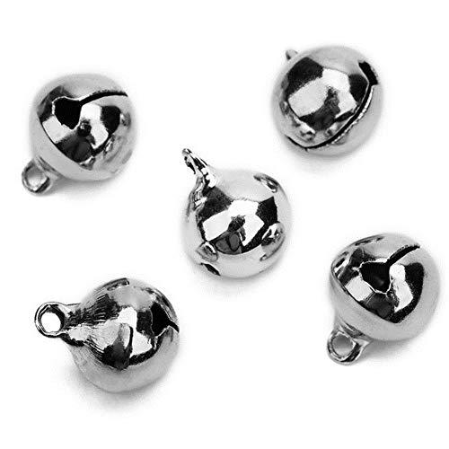 1 unidades/lote de 6 mm/8 mm/10 mm/12 mm/14 mm campanas de cobre Jingle pequeñas campanas colgantes para decoración de Navidad, manualidades, campanas, joyas, rodio, 14 mm, 30 unidades