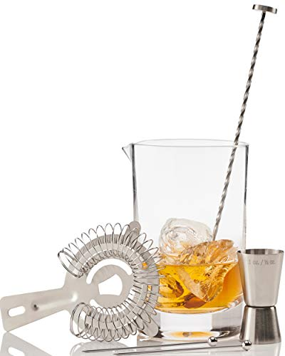 Crystal Cocktail Mixing Glass by Craft Connections. 6 Pc Set 24oz 710ml Bar Pitcher Thick Bottom, Stainless Bar Spoon & Muddler, Strainer, Garnish Picks, Jigger & Recipes. Professional Set, Great Gift