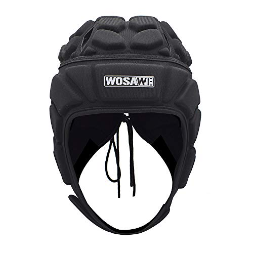 WOSAWE Goalkeeper Helmet Soft Shell Rugby Headguards Multi Sports Head Injury Protection Headgear, M