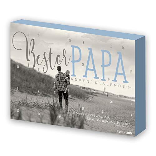 itenga Calendrier de l'Avent «Bester Papa»(Meilleur papa) pour homme - Gris/Bleu Plage - 24 surprises - Design moderne