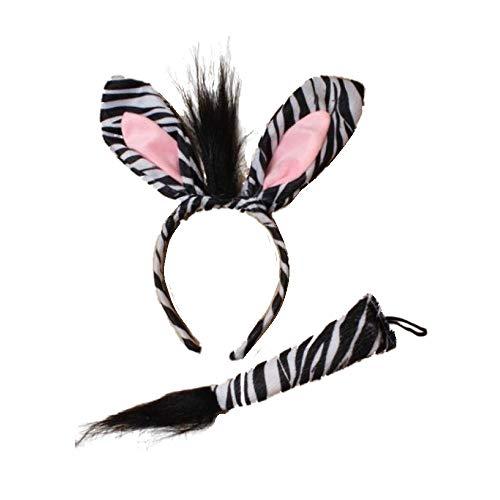 Zebra Ears Alice Ensemble Bande Cheveux Et Queue Déguisés Fête Robe