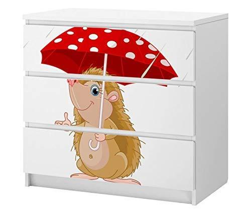 Set Möbelaufkleber für Ikea Kommode MALM 3 Fächer/Schubladen Kinderzimmer Cartoon Igel im Regen Kat2 Regenschirm rot ML3 Aufkleber Möbelfolie sticker (Ohne Möbel) Folie 25C2601
