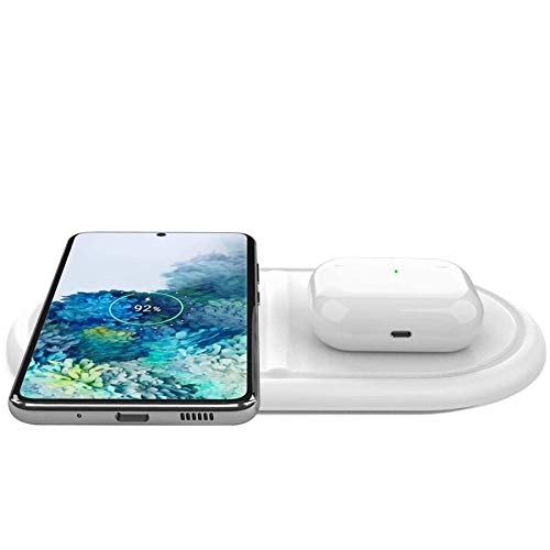 Kdely 2 en 1 Cargador Inalambrico Rápida 10W para Samsung S20/S10/Note 20/10 y 7.5W Qi Wireless Charger para iPhone SE 2020/12 Pro Max/11 Pro MAX/XS Max/XR/X/8P/Huawei P40 Pro/Galaxy Buds/Airpods Pro