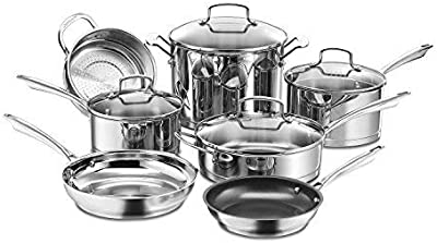 Cuisinart 11-Piece Professional Stainless Cookware Set & C77SS-15PK 15-Piece Stainless Steel Hollow Handle Block Set