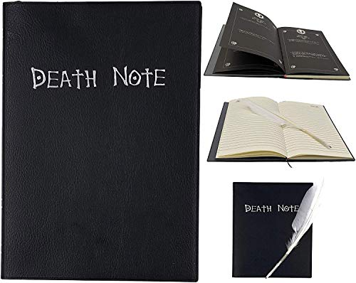 Gamer Pro Death Note Cosplay Notebook with Feather Pen and Bookmark. with English Rules (Leather Cover)