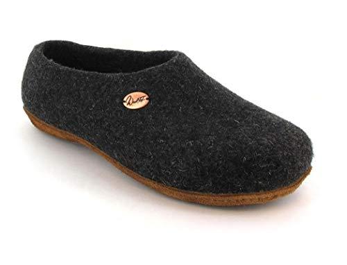 WoolFit Classic - Damen & Herren Filz-Slipper mit erhöhter Ferse - kunstvoll handgefilzt, extra weich mit vegetabiler Leder-Sohle, Graphit, 39