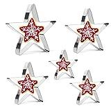 Iindes Lot de 5 emporte-pièces motif étoile de 5 tailles différentes, en acier inoxydable Moule Outil de cuisson