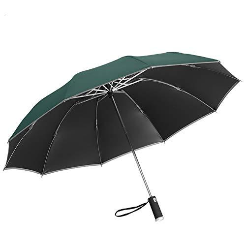 CNXUS Paraguas, Paraguas de Bolsillo LED, Apertura-Cierre Automático, a Prueba de Viento, a Prueba de tormentas, Estable y Ligero, Paraguas de Negocios portátil (Verde Oscuro)