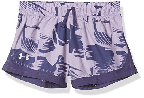 Under Armour Sprint Printed Shorts Pantalones Cortos, Morado al Atardecer (555)/Plateado metálico, L para Niñas