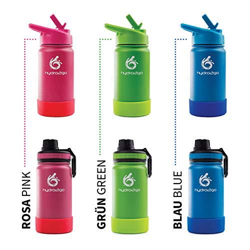 hydro2go Biberón infanti de acero inoxidable - 350ml | Botella termo de acero inoxidable sin BPA para niños + 2 tapones para beber | Botella infantil 100% estanca | Cierre de paja y deportivo