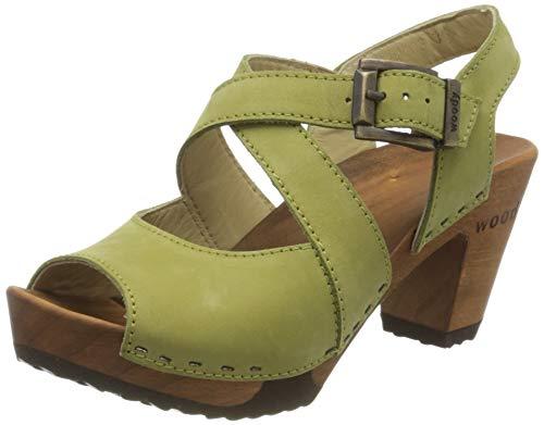 Woody Damen Elenor Pantoletten, Grün (Kiwi 069), 36 EU
