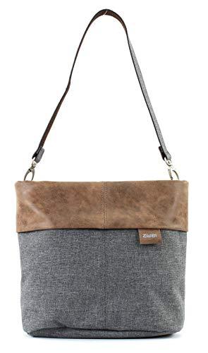 Zwei Olli OT8 Tasche Damen Umhängetasche Schultertasche 25x23x10 cm (BxHxT), Farbe:, Stone (Grau/Braun), One size