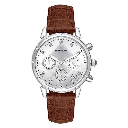 SANDA Relojes Hombre,Cinturón de Tendencia de Moda pequeño Diamante de Tres Pines cinturón Impermeable Casual Reloj para Mujer-Plata café