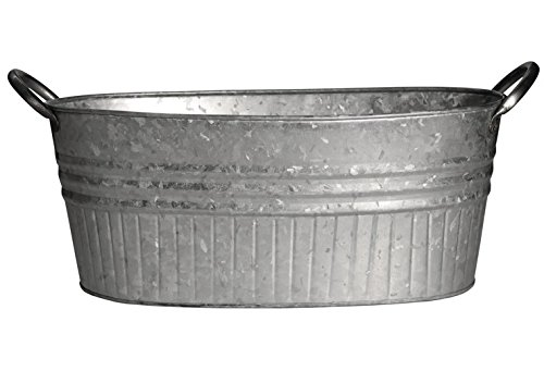 """Robert Allen Mpt01645 Oval Tub Tapered With Handles, 16.5"""", Galvanized"""