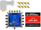 MULTISCHALTER SET Anadol Zero Watt inklusive Quad LNB - Stromloser Multiswitch für Satellit mit LNB für 8 Teilnehmer -Multischalter ist für Quad & Quattro LNB`s geeignet