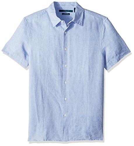 Perry Ellis Camisa de Manga Corta de Lino sólido de algodón con Botones para Hombre, Azul (Colony Blue), Medium