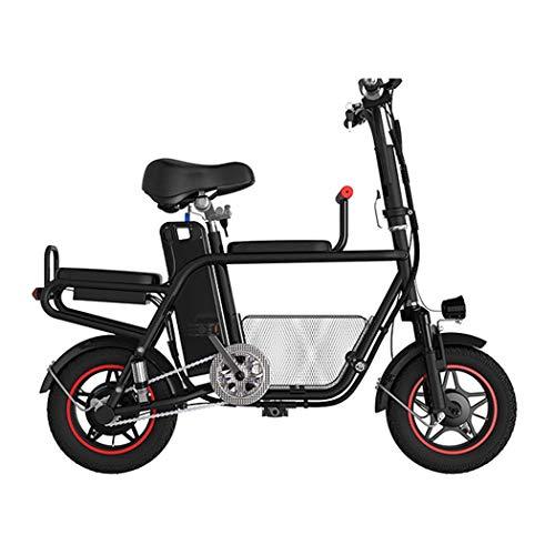 QIONGS Biciclette elettriche, Freni a Tamburo, Display LCD, 37km / h, Driving Range 55km, Ammortizzatore, Tre posti, Basket, Due Ruote Bicicletta Pieghevole elettrica, Nero
