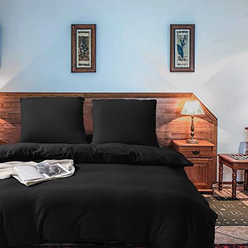 softan 2 Teilig Bettwäsche Set aus Fleece, Weiche und Atmungsaktive Mikrofaser-Bettbezug-Set mit Reißverschluss, Einfarbig, 1 Bettbezug 135x200cm + 1 Kopfkissenbezug 80x80cm,Schwarz