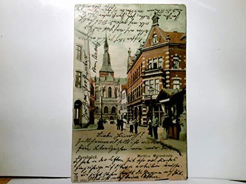 Osnabrück. Markt und Marienkirche. Alte, sehr seltene AK farbig. gel. 1906. Straßenpartie, Gebäudeansichten, Geschäfte, viele Personen