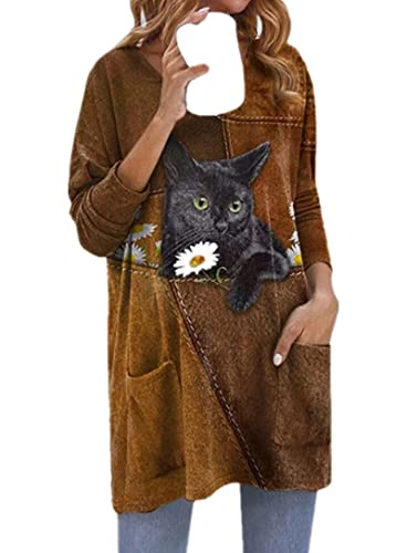 SLYZ Camiseta De Talla Grande De Primavera para Mujer, Cuello Redondo, Bolsillo De Manga Larga, Suéter Suelto De Media Longitud para Mujer