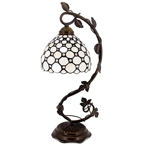 Tiffany Lamp Cream Stained Glass and Crystal Pearl Bead Style Table Lamps Wide 8 Inch Height 21 Inch for Living Room Antique Desk Beside Bedroom Set S005 WERFACTORY