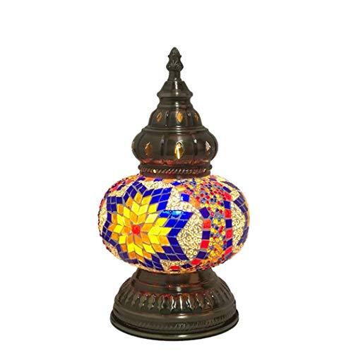 Yjmgrowing tafellamp, Turks, handgemaakt, bedlamp, van glas, mozaïek, nachtlampje, Tiffany-stijl, voor de verlichting van de werkkamer, E14 (16 x 29 cm)