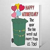 Tarjeta de felicitación divertida para amantes de la papelera, marido, esposa, novio, amor, felicitación con sobres, tarjeta de bendición de 25,4 x 17,8 cm vh144