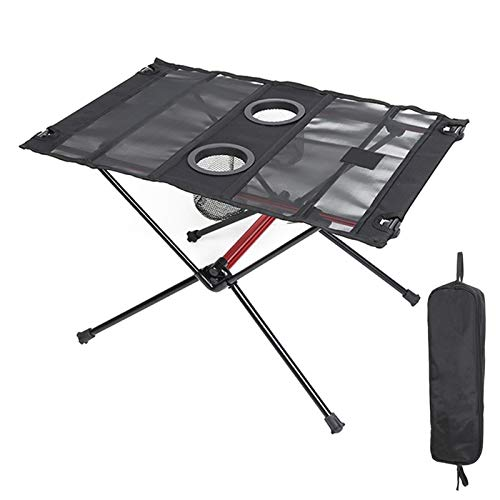 Lightweight Folding Table with Cup Holders, Portable Camp Table (L - Unfolded: 23.2' x 16' x 15.3'),Black-red