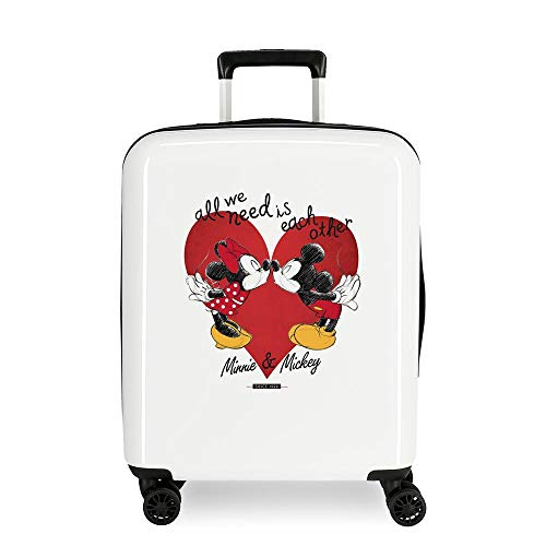 Disney Mickey Love Trolley cabina Bianco 38x55x20 cms Rigida ABS Chiusura a combinazione numerica 34L 2,8Kgs 4 doppie ruote Bagaglio a mano