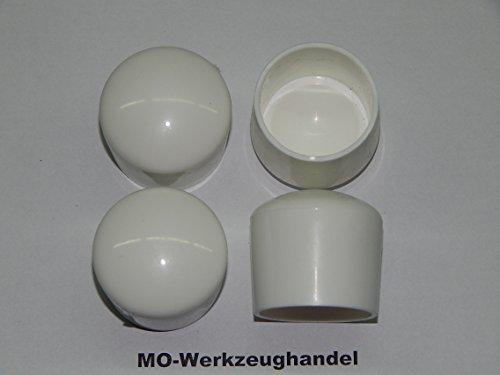MO-Werkzeughandel ® 16 Stück Stuhlbeinkappen Innendurchmesser: 32 mm, Farbe: Weiß, Rund, Gleitkappe zum Aufstecken, Rohrkappen, aus Kunststoff Weiss