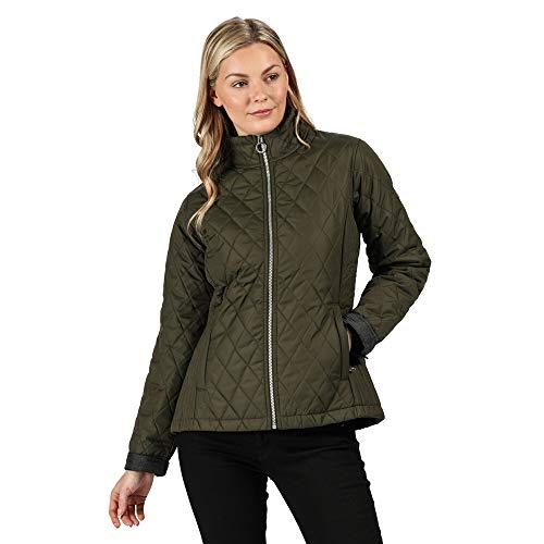 Regatta Damen Charna Water Repellent Micro Poplin Fabric Thermoguard Insulation Back Vents With Stud Fastening Jacket Jacke, Dunkles kaki, 34