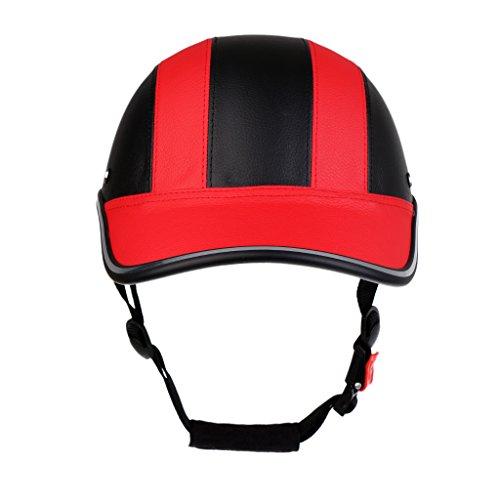 SM SunniMix Fahrradhelm Baseball Cap Schutzhelm Motorradhelm Radhlem für Männer Frauen - Schwarz Rot