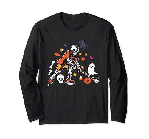 Skelett spielen Eishockey Lazy DIY Halloween Kostüm Sport Langarmshirt