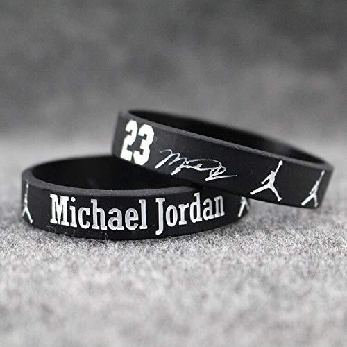 XIXI Jordan Gedenk Armband Silikon-Armband männlichen Sport Basketball Basketballspieler Michael Jordan Hände Ring Ring (Color : Classic Black)