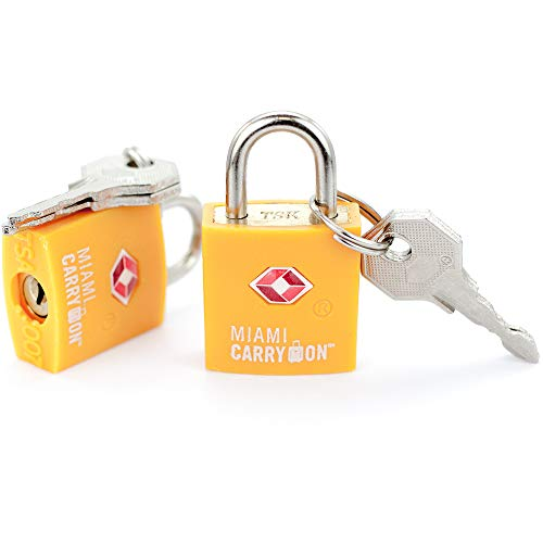 TSA Approved Padlock - Miami Carry On - Best TSA Keyed Luggage Lock, 0.9 Inch Wide - Keyed Different - Orange (4 Pack)