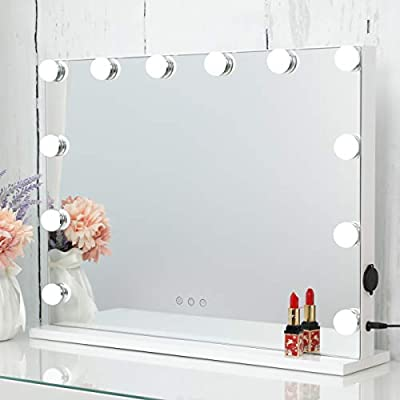 HOMPEN Makeup Vanity Mirror with Lights, Table Top Mirror with Dimmable LED Bulb and Touch Switch, USB Outlet