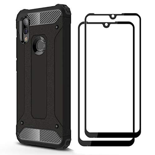 FANFO® Funda + [2 Pack] Cristal Vidrio Templado para Xiaomi Redmi 7, Negro
