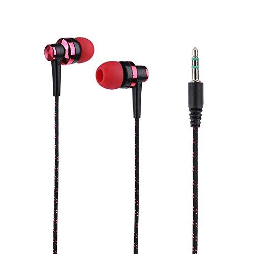 HShyxlkj In-ear oordopjes met gevlochten touw, stijlvolle stereo in-ear hoofdtelefoon met gevlochten snoer en hoofdtelefoon zonder microfoon