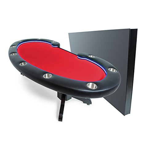 BBO Poker Lumen HD Lighted Poker Table for 10 Players with Red Felt Playing Surface, 101.5 x 46-Inch Oval, Includes Matching Dining Top