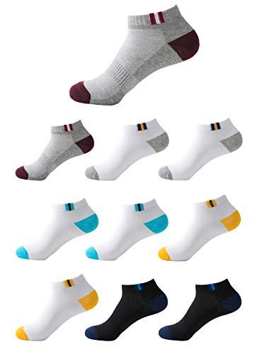 Budermmy Lot de 10 paires Homme Chaussettes de sport Femme chaussettes courtes basses respirantes (35-40)
