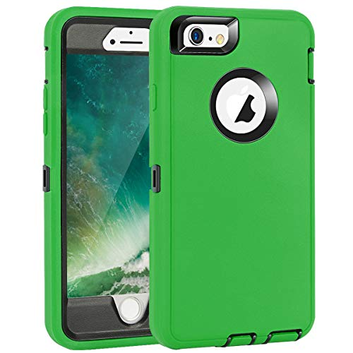 MAXCURY Heavy Duty Shockproof Series Case Compatible for iPhone 6 and iPhone 6S (4.7 inch) Case with Built-in Screen Protector - Green and Black