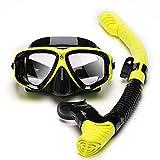JUYHTY Snorkell Kit Set Anti Niebla Máscara De Buceo Esnórquel Buceo Natación Vidrio Templado Máscara De Snorkel Set De Snorkel Seco para Adultos Y Niños,Amarillo,1