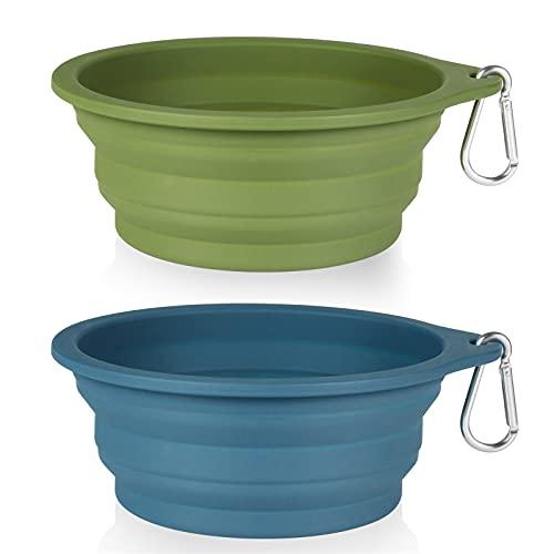SLSON 2Pack Collapsible Dog Bowl,Integrated Molding Travel Bowl No Plastic Rim Pet Feeding Bowls for Walking Traveling Outdoors,600ML (Navy Blue+Dark Green)