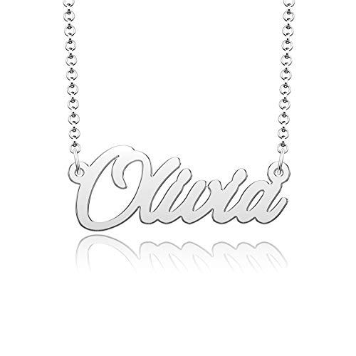 ShinyJewelry Olivia Name Necklace Personalized Gifts for Women Girls Nameplate Pendant