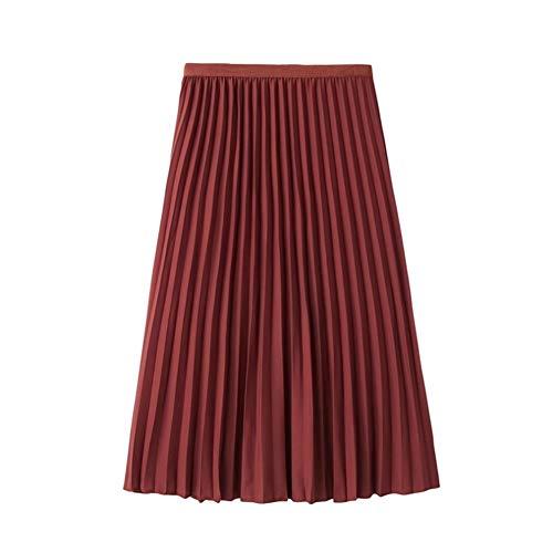 ERLIZHINIAN Damska spódnica plisowana jesień spódniczka 2019 damska spódnica z wysoką talią sweter damski A-Line spódnica midi wiosna spódniczka (kolor : Brick Red, rozmiar: One Size)