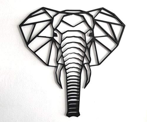 Fotodekora Cabeza Elefante Escultura de Lineas Negras para Colgar en Pared | Diseño geométrico | Arte de Pared | Animales Origami